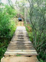 One of the most impressive and daunting obstacles is a 3 meter high wooden log bridge